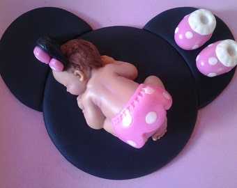 Fondant baby pink Minnie mouse cake topper for Baby Shower, Birthday, Party Favor
