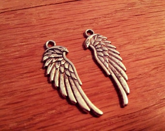 Angel Wing Charms Wing Pendants Silver Wing Charms Antiqued Silver 34mm Wholesale Charms Double Sided Charms Ornate Wing Charms 10 pcs