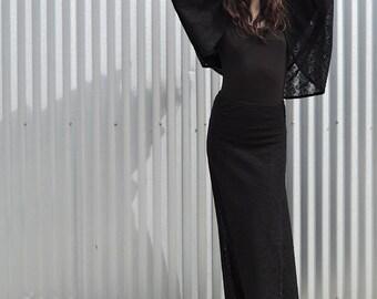 Black Lace Skirt, Elastic Waist Lace Skirt, Size Small
