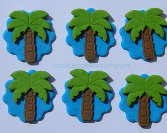 12 edible TROPICAL PALM TREE disc cake decorations cupcake wedding topper decoration party wedding anniversary birthday engagement hawaii