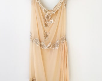 1920s Flapper Dress. Antique Wedding Dress. Vintage Gatsby Dress. Stunnng Metallic Lace Trim Gown. Georgette Dress. Roaring Twenties