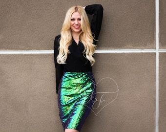 Iridescent Sequin Pencil Skirt - High Waist- Knee Length