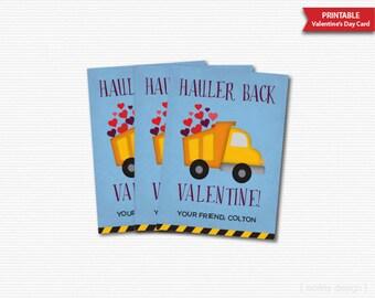 Hauler Back Valentines Cards Printable Classroom Valentines Truck Valentines Boys Personalized Kids Valentines Cards Digital File DIY