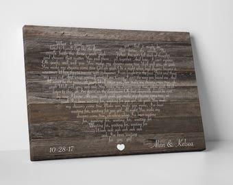 Wood wall art print, wood anniversary gift for him, framed song lyrics wall art, wood canvas print, first dance lyric frame, 5th anniversary