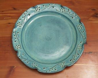Turquoise Blue Serving Platter-Tray-Party Platter- Floral Decor