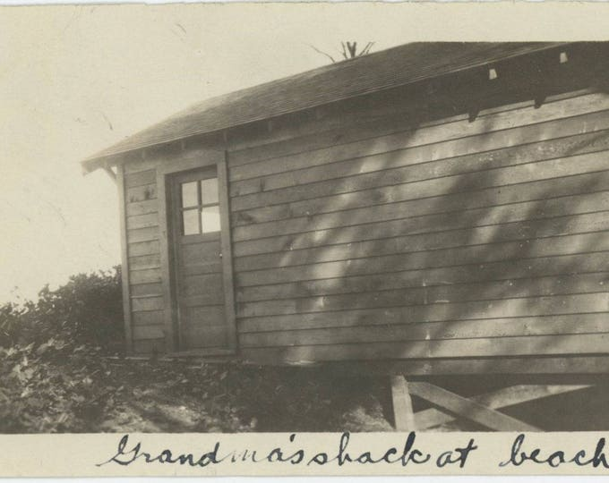 Grandma's Shack at Beach: Vintage Snapshot Photo [81644]