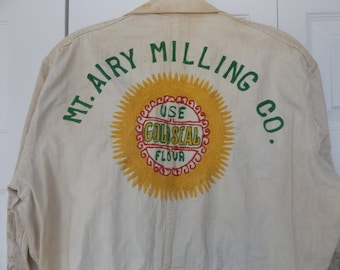 40s 50s Coveralls Mt. Airy Milling Co Embroidered Vintage Farm Work Wear Sz 42 USA