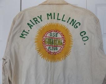 40er Jahre 50er Jahre Overalls Mt. luftig Fräsen Co bestickt Vintage Bauernhof Arbeit tragen Sz 42 USA