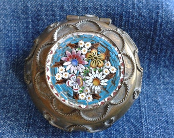 Italian Micro Mosaic Brass Trinket Box