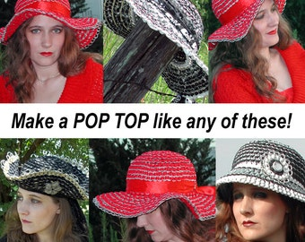 Tabistry Domed Hat PDF Tutorial and 4 Patterns - How to Make Upcycled Aluminum Soda Can Tab Hats