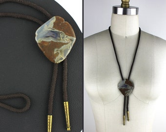 Brown Black & Clear Stone Bolo Tie with Brown Nylon Cord
