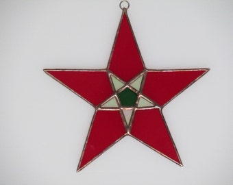 Stained Glass Red and Green Star Suncatcher