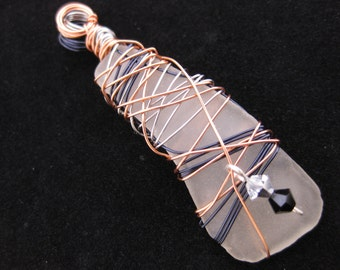 Wire Wrapped Sea Glass Pendant - Frosted White / Clear Seaglass with Copper, Black and Silver Soft Copper Wire Wrapping & Swarovski Crystals