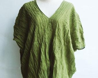 B7, Free Size Free Spirit Light Green Cotton Blouse, green shirt