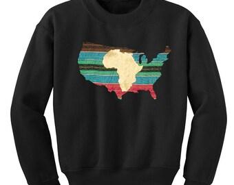 L'Afrique en Amérique Ankara Sweat African American Pride noir Culture Black Pride Long Sweat manche avec pagne