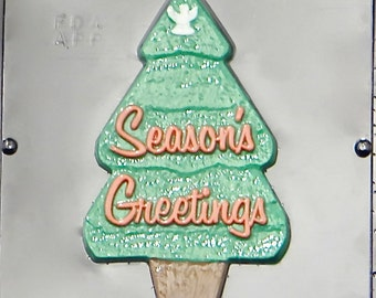 Season's Greetings Christmas Tree Chocolate Candy Mold Christmas 2158
