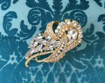 Art Deco Brooch.SLIGHT SECOND PIN.Gold Rhinestone Brooch.Art Deco Style Gold Brooch.Crystal.Art Nouveau.wedding Brooch Pin.broach.Pin