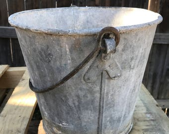 Vintage galvanized steel pail Industrial Rustic Planter Free Shipping