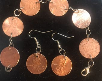 Penny For Your Thoughts Penny Jewelry Earrings, Bracelet, Necklace, Sets