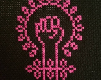 Girl Power Completed Cross Stitch