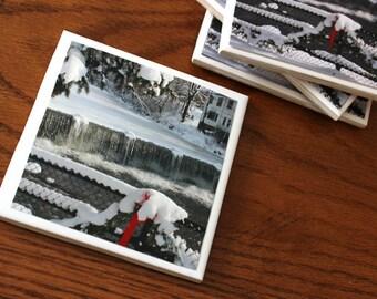 Chagrin Falls Waterfall Coasters // set of 4 coasters // Photography//Home Decor//Coaster/ Photo Coaster/ Chagrin Falls/ Ceramic Coaster