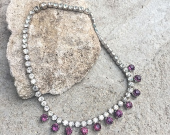 Vintage Amethyst and Clear Rhinestone Choker Necklace Wedding Jewelry Prom Necklace Amethyst and Clear Rhinestones Gorgeous