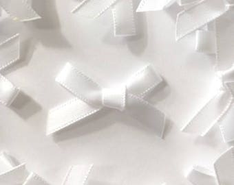 25 White Mini Fabric Bows 7mm  - Card Making Embellishments Craft Sewing