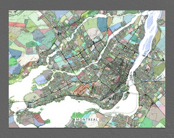 Montreal Map Print, Montreal City Map Art, Quebec Canada, Colorful