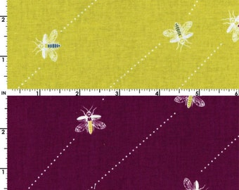 Kokka Fabric, Bee Fabric -  Bee Trails. Wandering Bee - Wanderlust by Thomas Knauer 50602 A/B - Violet or Lt. Olive - Priced by the 1/2 yard