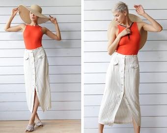 Vintage beige white vertical striped linen viscose button down ankle length high waist pencil midi skirt S