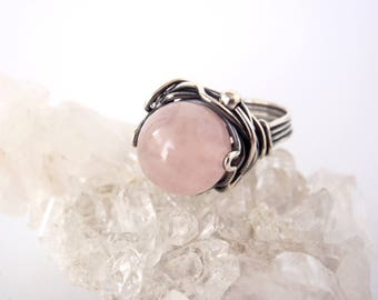 Rose Quartz Ring ~ US Size 6.5 ~ AU/UK Size N ~ Handcrafted Eco-Recycled Sterling Silver Orbit Ring ~ Pale Pink Stone Ring ~ Love Crystal