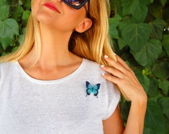 Butterfly Brooch, Butterfly Jewelry, Gift, Insect Jewelry, Pink Butterfly, Bug, Plastic Brooch, Nature,