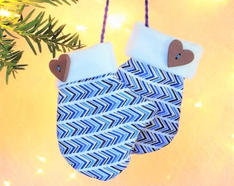 Baby First Christmas Ornaments Baby Boy Blue Baby Ornament Mittens Ornament