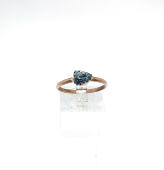 Raw Tourmaline Ring | Raw Crystal | Mixed Metal Ring Sz 9.25 | Rough Tourmaline | Blue Green Tourmaline Crystal | Post Apocalyptic Clothing