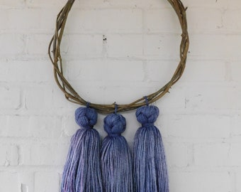 Handwoven Wreath With Indigo Dyed Tassels