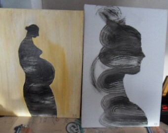 two canvas painting acrylic different dimentiont