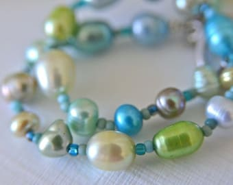 Aqua - Lime - Sand - Turquoise Pearl Bracelet with Seed Beads and Pearl Dangle Handmade in Maine
