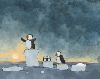 Puffin Nursery Art - Playing on Ice Glaciers