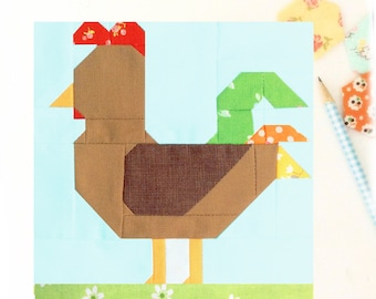 Rooster Chicken Farmgirl Bird Animal PDF Quilt Block Pattern - Includes instructions for 6 inch and 12 inch Finished Blocks