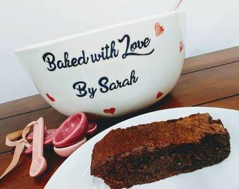 Ceramic Large Hand Painted Personalised Kitchen Bowl Custom Colours Baking Bowl Dish Personalised Kitchen Bowl