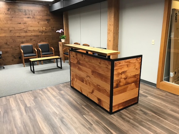 Industrial Reception Desk Reclaimed Wood Desk Front Counter