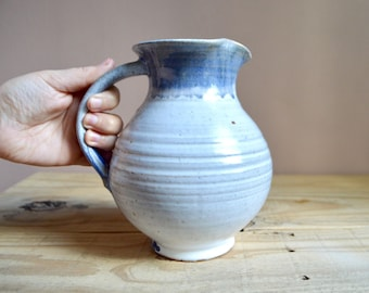 Art Pottery Pitcher in Blue and White, Vintage Studio Pottery, Hickman '79