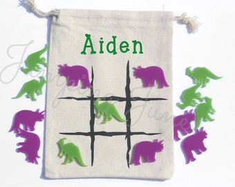 Tic Tac Toe Game, travel tic tac toe, dinosaur game,  tic tac toe, personalized childs gift, birthday gift, stocking stuffer