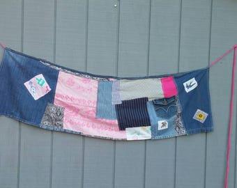 Patchwork wrap skirt,denim,pink,boho,upcycled clothing,repurposed clothing,upcycled skirt,eco-friendly clothing,artsy clothing,handmade