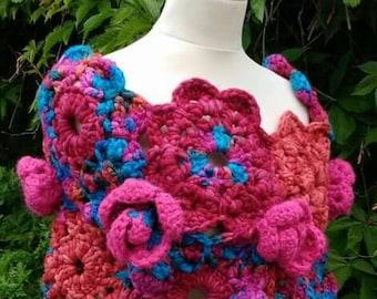 Crochet Pattern - Chunky Wrap, Rose and flower design