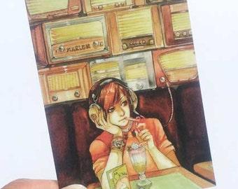 Radio Cafe ACEO Print