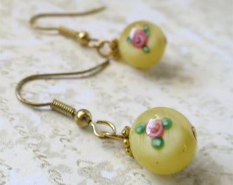 Yellow earrings round czech glass beads with satin finish and rose inlay
