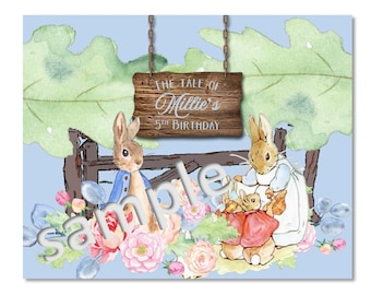 Personalized Digital File for Peter Rabbit Poster For Birthday or Baby Shower