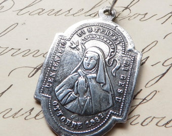 St Teresa / Theresa of Avila Medal - Patron of sick people - Sterling Silver Antique Replica