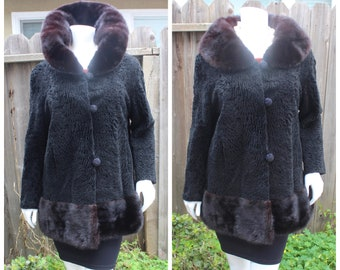 Real Black Swakara Persian Lamb Broadtail Breitschwanz Karakul Vintage Jacket Coat with Real Mink Collar and Mink Bottom Trim Size S-M